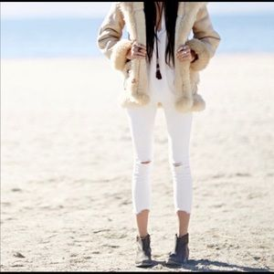 Free People White Destroyed Cropped Jeans sz 27